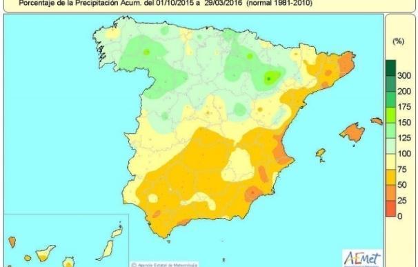 Las lluvias de Semana Santa reducen la falta acumulada de lluvias desde el 1 de octubre hasta el 6 por ciento
