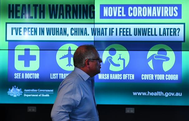 Prime Minister Scott Morrison is updated on the steps being taken to control the coronavirus at the National Incident Room of the Department of Health in Canberra, Wednesday, January 22, 2020.